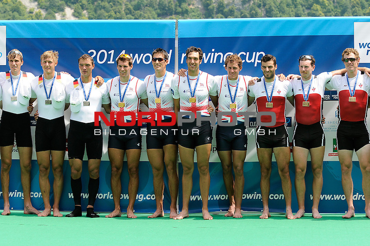 21 June,2014. World Cup Rowing, Aiguebelette, France. The podium of the Men's Quadruple Sculls.<br /> <br /> Foto &copy; nph / Pier Paolo Piciucco