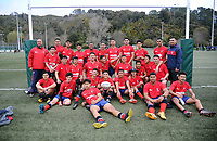The Kelston team poses for a group photo after winning  the 2018 Hurricanes Secondary Schools Under-15 Boys' Rugby Tournament match between Kelston Boys' High School and Aotea College at Maidstone Park in Wellington, New Zealand on Thursday, 6 September 2018. Photo: Dave Lintott / lintottphoto.co.nz