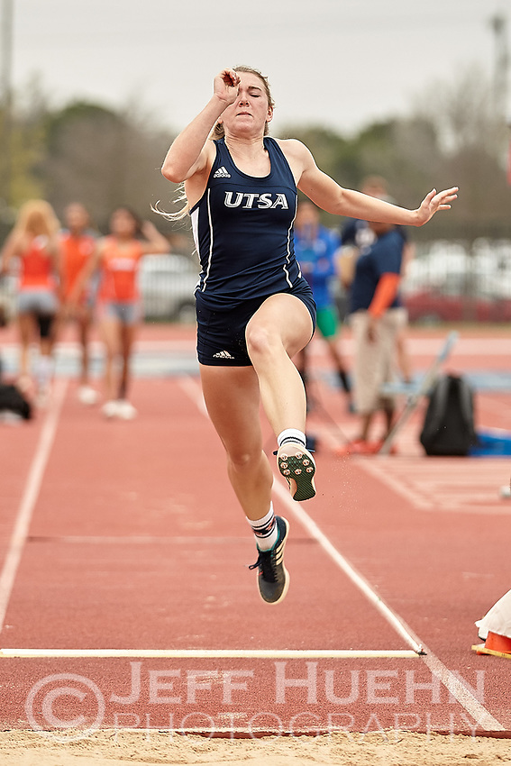 SAN ANTONIO, TX - MARCH 17, 2018: The University of Texas at San Antonio Roadrunners compete in the 2018 UTSA Invitational Track & Field Meet at the Park West Athletics Complex. (Photo by Jeff Huehn)