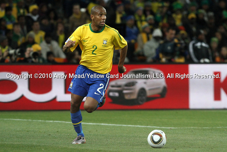 20 JUN 2010: Maicon (BRA). The Brazil National Team defeated the C'ote d'Ivoire National Team 3-1 at Soccer City Stadium in Johannesburg, South Africa in a 2010 FIFA World Cup Group G match.