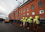 Police in attendance at the front door of Ibrox