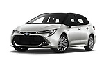 Stock pictures of low aggressive front three quarter view of 2019 Toyota Corolla-Touring-Sports Hybrid-Style 5 Door Wagon Low Aggressive