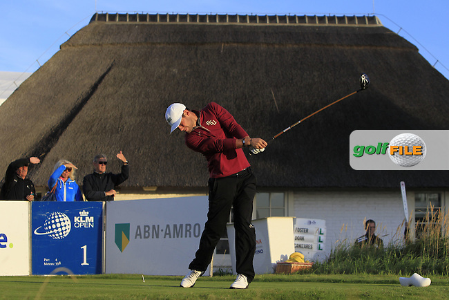 Rowin Caron (AM)(NED) on the 1st tee during Round 1 of the 2015 KLM Open at the Kennemer Golf &amp; Country Club in The Netherlands on 10/09/15.<br /> Picture: Thos Caffrey | Golffile
