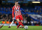 5th December 2017, Stamford Bridge, London, England; UEFA Champions League football, Chelsea versus Atletico Madrid; Fernando Torres of Atletico Madrid lays the ball off