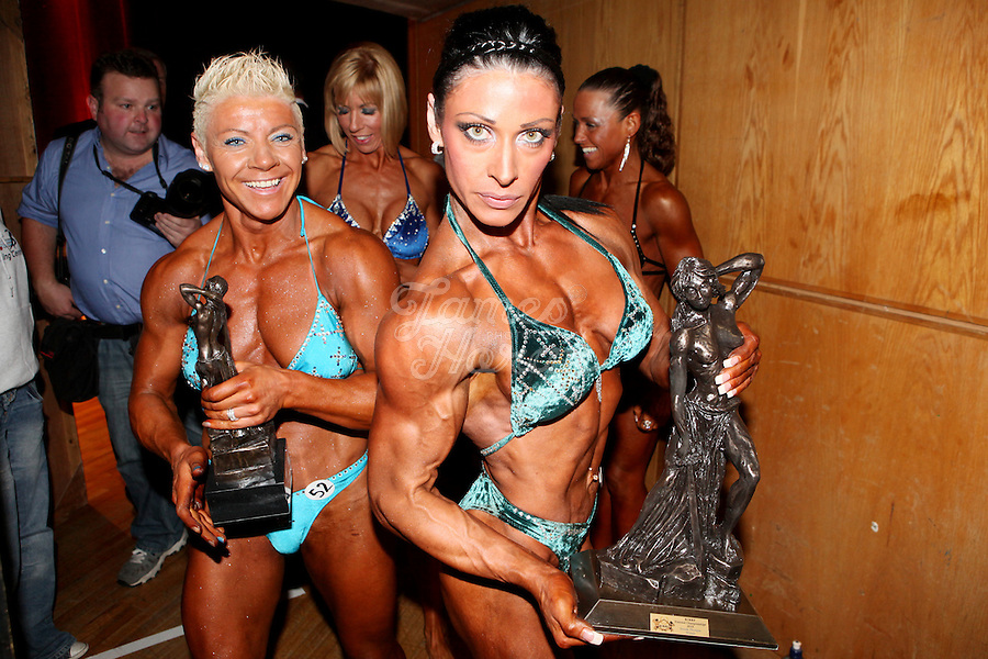 23/10/2010. Irish female physique and figure fitness national championships.  Contestants are pictured onstage during the female physique category as part of the 2010 RIBBF national bodybuilding championships at the University of Limerick Concert Hall, Limerick, Ireland. Picture James Horan.