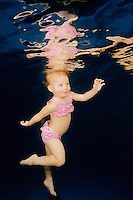 Model Release<br /> Baby girl in Swimwear Under Water.