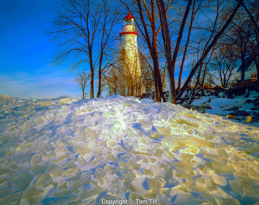 Marblehead Lighthouse in winter, Marblehead, Ohio,  Lake Erie shore Historic lighthouse dating from 1821