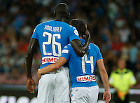 Kalidou Koulibaly  and Dries Mertens celebrate after scoring during the friendly soccer match,between SSC Napoli and Onc Nice      at  the San  Paolo   stadium in Naples  Italy , August 01, 2016<br />  during the friendly soccer match,between SSC Napoli and Onc Nice      at  the San  Paolo   stadium in Naples  Italy , August 02, 2016