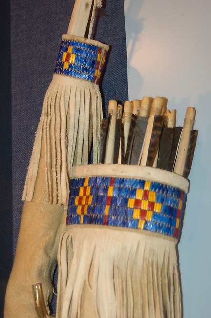 Mandan quiver and bow decorated with leather and porcupine quillwork on display at the On-A-Slant Indian Village museum, SD