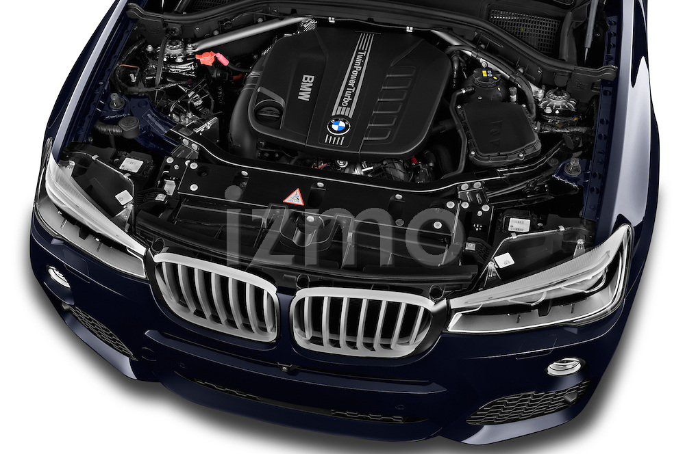 Car Stock 2015 BMW X4 M sportpakket 5 Door SUV 2WD Engine high angle detail view