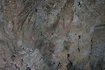Tool chisel marks on rock walls medieval cave dwellings homes Ghar il-Kbir, Dingli, Malta