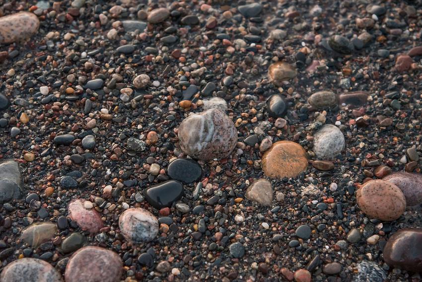 Beach stones on a wild Lake Superior beach on Michigan's Upper Peninsula.