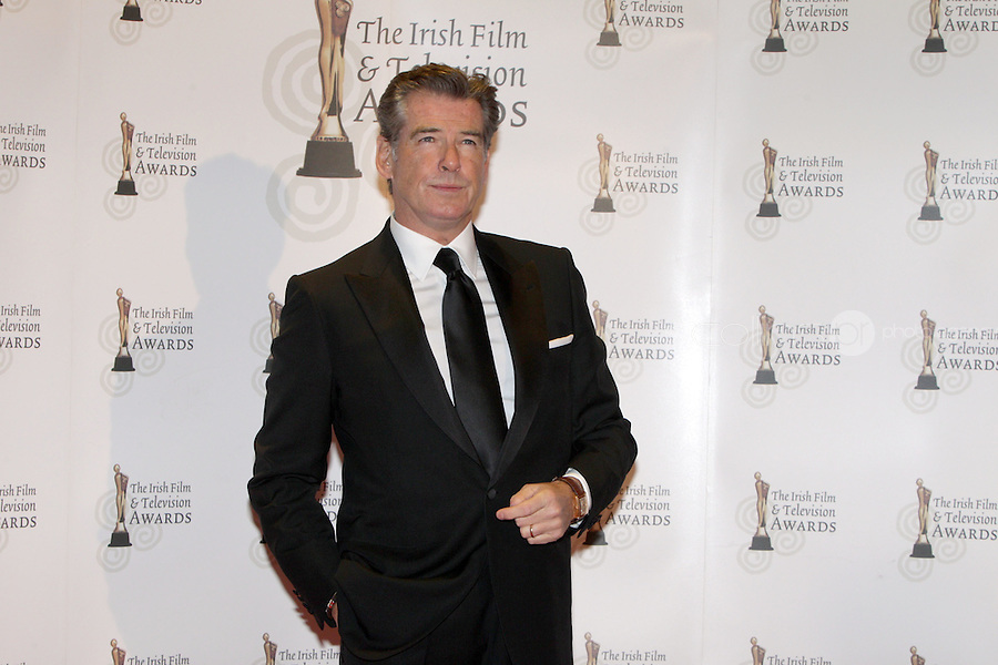 12/2/11 Pierce Brosnan on the red carpet at the 8th Irish Film and Television Awards at the Convention centre in Dublin. Picture:Arthur Carron/Collins