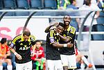 Solna 2014-07-12 Fotboll Allsvenskan AIK - Kalmar FF :  <br /> AIK:s Ibrahim Moro har gjort 3-0 och jublar med Henok Goitom <br /> (Foto: Kenta J&ouml;nsson) Nyckelord:  AIK Gnaget Friends Arena Kalmar KFF jubel gl&auml;dje lycka glad happy