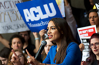 Alexandria Ocasio-Cortez at Vote No on Kavanaugh confirmation demonstration Boston MA 10.1.18