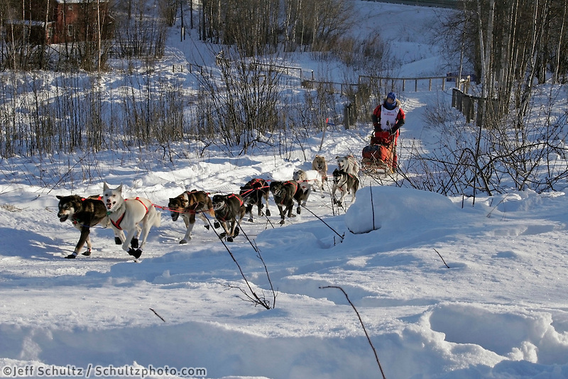 Saturday, February 24th, Knik, Alaska.  Jr. Iditarod musherJessica Klejka on the trail shortly after leaving the Knik start