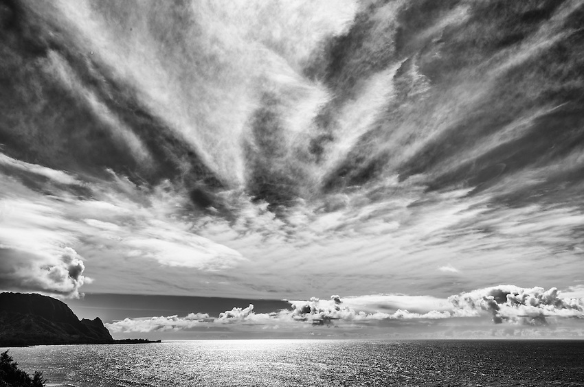 A sunset in black and white on the north shore of Kauai, at Princeville, HI