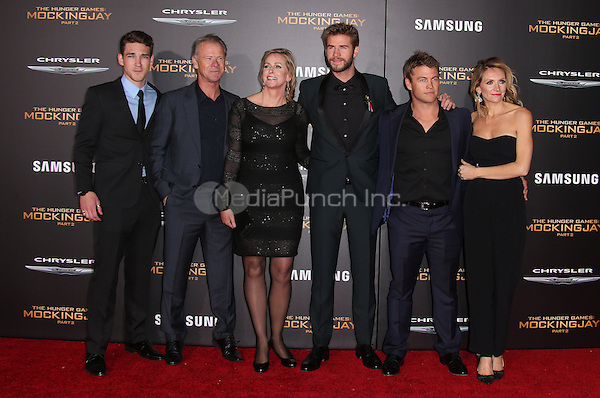 "Los Angeles, CA - November 16 Liam Hemsworth, Luke Hemsworth, Sammantha Hemsworth Attending Premiere Of Lionsgate's ""The Hunger Games: Mockingjay - Part 2"" At Microsoft Theater On November 16, 2015. Photo Credit: Faye Sadou / MediaPunch"