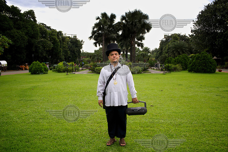 Manila tour guide, cultural activist and performing artist, Carlos Celdran, in the grounds in Fort Santiago in Intramuros.
