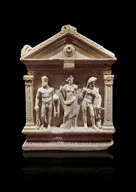 End of Roman relief sculpted Herakles (Hercules)  sarcophagus, 2nd century AD, Perge, inv 2017/400. Antalya Archaeology Museum, Turkey. Against a black background.
