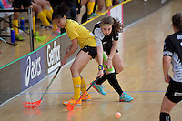 Malaysia's Alexandra Esien and New Zealand's Sophie Scott in action during the World Floorball Championships 2017 Qualification for Asia Oceania Region - New Zealand v Malaysia at ASB Sports Centre , Wellington, New Zealand on Saturday 4 February 2017.<br /> Photo by Masanori Udagawa<br /> www.photowellington.photoshelter.com.