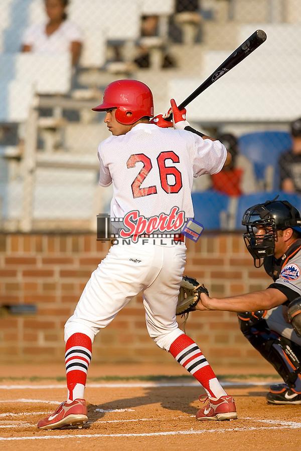 Shortstop Nico Vasquez (26) of the Johnson City Cardinals at bat at Howard Johnson Field in Johnson City, TN, Thursday July 3, 2008.