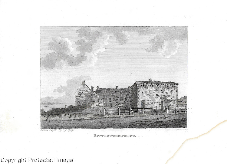 Engravings of Scottish landscapes and buildings from late eighteenth century,  Pittenweem Priory, Scotland, UK 1791