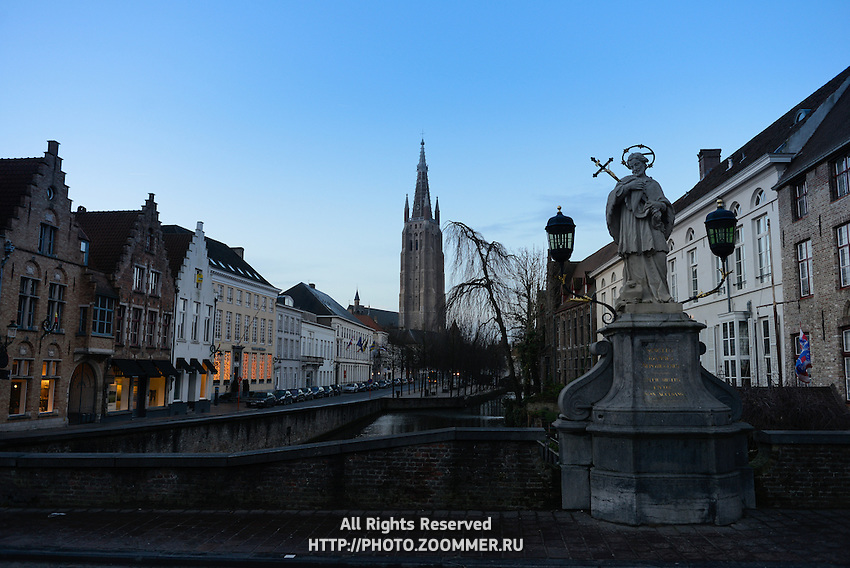 Bridge Over Dijver River With Church of Our Lady, Brugge