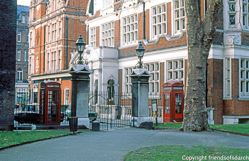 London: Mayfair, Entrance to St. George's Hanover Square Gardens. Off So. Audley St. on Chapel Place North.