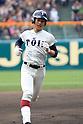 Kyota Fujiwara (),<br /> APRIL 1, 2016 - Baseball :<br /> Kyota Fujiwara of Osaka Toin rounds the bases after hitting a lead-off home run in the first inningg during the 89th National High School Baseball Invitational Tournament final game between Riseisha 3-8 Osaka Toin at Koshien Stadium in Hyogo, Japan. (Photo by Katsuro Okazawa/AFLO)
