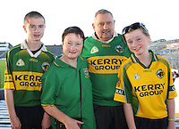 Kerry football fans Padraig O'Rahilly, Margaret O'rahilly, John Ryan and Maureen O'Rahilly, Barraduff, Co. Kerry,  are looking forward to the All Ireland semi-final against Dublin on Sunday.  Picture: Eamonn Keogh (MacMonagle, Killarney)