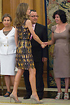 26.07.2012. Princess Letizia of Spain attends audience with the representation of the Spanish Association of Reading Comprehension, chaired by Elena Perez Jimenez at Zarzuela Palace. In the image Princess Letizia (Alterphotos/Marta Gonzalez)