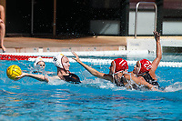Stanford, CA - April 28, 2019: Makenzie Fischer and Ryann Neushul during the Stanford vs USC MPSF Women's Water Polo Championship Sunday at the Avery Aquatic Center.<br /> <br /> No. 1 Stanford lost the MPSF Championship in sudden death to the No. 2 Trojans, 9-8.