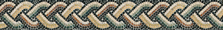 "5 1/2"" Neptune Braid border, a hand-chopped stone mosaic, shown in tumbled Nero Marquina, Persian Gold, Giallo Reale, Botticino, Verde Luna, Verde Alpi, and Rosa Verona."