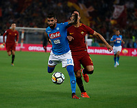 Elseid Hysaj Diego Perrotti  during the  italian serie a soccer match, AS Roma -  SSC Napoli       at  the Stadio Olimpico in Rome  Italy , 14 ottobre 2017