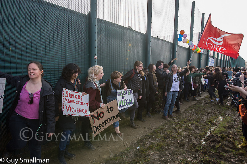 Protest at Yarleswood Immigration Removal Centre 12-3-16 The demonstration organised by The Movement for Justice and womens groups surrounded the facility in Hertfordshire.