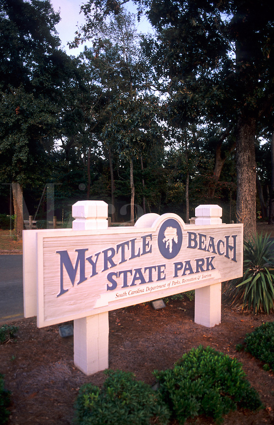 Myrtle Beach State Park sign, Myrtle Beach, South Carolina, USA