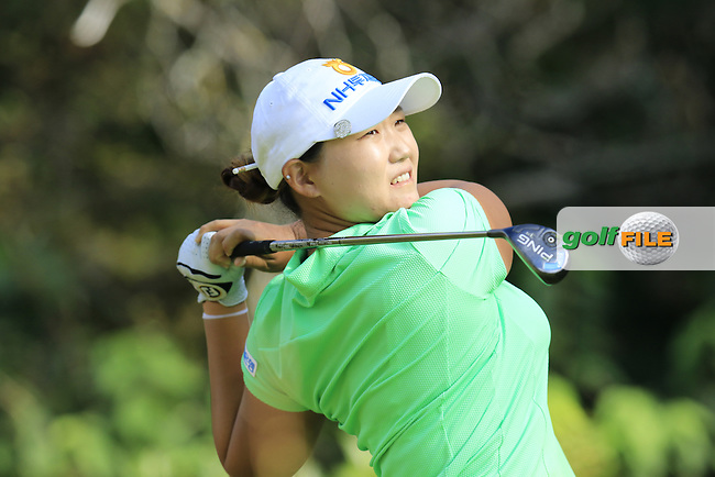 Mirim Lee (KOR) tees off the 3rd tee during Friday's Round 2 of the LPGA 2015 Evian Championship, held at the Evian Resort Golf Club, Evian les Bains, France. 11th September 2015.<br /> Picture Eoin Clarke | Golffile