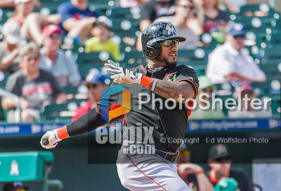 10 March 2015: Miami Marlins infielder Jordany Valdespin in Spring Training action against the Washington Nationals at Roger Dean Stadium in Jupiter, Florida. The Marlins edged out the Nationals 2-1 on a walk-off solo home run in the 9th inning of Grapefruit League play. Mandatory Credit: Ed Wolfstein Photo *** RAW (NEF) Image File Available ***