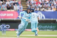 Jason Roy (England) runs wide to avoid Jonny Bairstow (England) during Australia vs England, ICC World Cup Semi-Final Cricket at Edgbaston Stadium on 11th July 2019