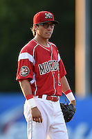 Batavia Muckdogs shortstop Aaron Blanton (11) during a game against the Staten Island Yankees on August 8, 2014 at Dwyer Stadium in Batavia, New York.  Staten Island defeated Batavia 4-2.  (Mike Janes/Four Seam Images)