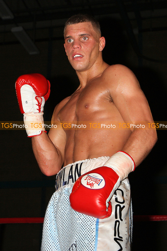 Ricky Boylan (light blue shorts) defeats Kristian Laight in a Lightweight boxing contest at Goresbrook Leisure Centre,Dagenham, promoted by Steve Goodwin - 19/03/11 - MANDATORY CREDIT: Gavin Ellis/TGSPHOTO - Self billing applies where appropriate - Tel: 0845 094 6026