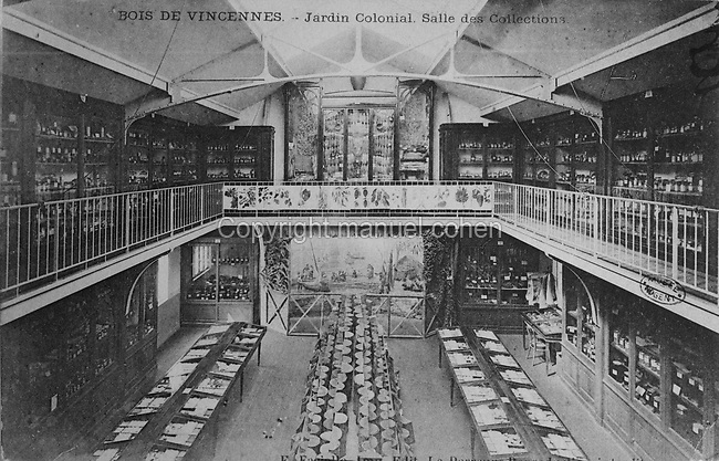 Collection Hall displaying plants and artefacts from French Overseas Territories, in the Jardin d'Agronomie Tropicale, or Garden of Tropical Agronomy, in the Bois de Vincennes in the 12th arrondissement of Paris, postcard from the nearby Musee de Nogent sur Marne, France. The garden was first established in 1899 to conduct agronomical experiments on plants of French colonies. In 1907 it was the site of the Colonial Exhibition and many pavilions were built or relocated here. The garden has since become neglected and many structures overgrown, damaged or destroyed, with most of the tropical vegetation disappeared. The site is listed as a historic monument. Picture by Manuel Cohen / Musee de Nogent sur Marne