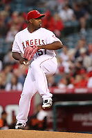 Jerome Williams #57 of the Los Angeles Angels pitches against the Baltimore Orioles at Angel Stadium on April 20, 2012 in Anaheim,California. Los Angeles defeated Baltimore 6-3.(Larry Goren/Four Seam Images)