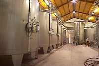 The winery with stainless steel fermentation tanks  Chateau Potensac Cru Bourgeois Ordonnac  Medoc  Bordeaux Gironde Aquitaine France