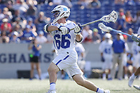 Annapolis, MD - May 20, 2018: Duke Blue Devils Peter Conley (66) shots the ball during the quarterfinal game between Duke vs John Hopkins at  Navy-Marine Corps Memorial Stadium in Annapolis, MD.   (Photo by Elliott Brown/Media Images International)