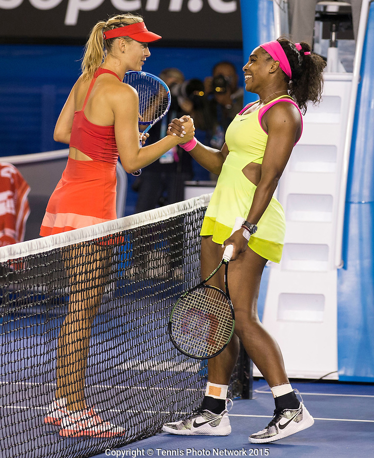 SERENA WILLIAMS (USA) MARIA SHARAPOVA (RUS)<br /> <br /> Tennis - Australian Open 2015 - Grand Slam -  Melbourne Park - Melbourne - Victoria - Australia  - 31 January 2015. <br /> &copy; AMN IMAGES