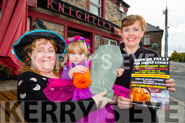 Little Amber Keating and her nana Liz Powell and Helen from Knightly's bar who are holding a Halloween fancy dress party in aid of Temple Street, Childrens Hospital Neology Department in their bar in Castlemaine on Saturday 31st October