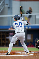 Matthew Duran (50) of the Pulaski Yankees at bat against the Danville Braves at Legion Field on August 7, 2015 in Danville, Virginia.  The Yankees defeated the Braves 3-2. (Brian Westerholt/Four Seam Images)