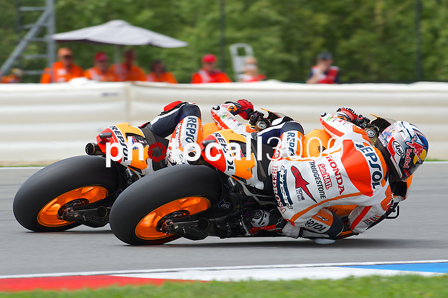 bwin grand prix ceske republiki 2014, during the world championships motorcycle.<br /> brno, republica checa<br /> 2014/08/17<br /> Race MotoGP<br /> DANI PEDROSA<br /> MARC MARQUEZ<br /> Rafa Marrod&aacute;n by photocall3000